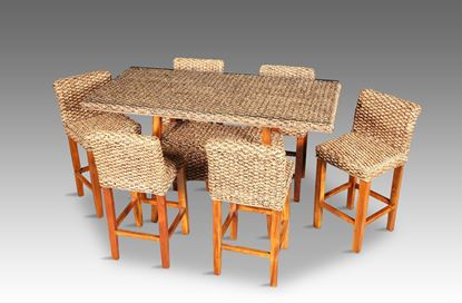 Picture of Java Rectangle Bar Table Honey Package Includes 6 Chairs without glass