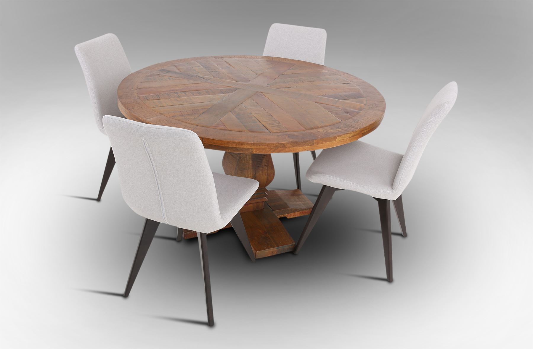 Rice furniture eden round dining table with 4 hilton - Dining table and fabric chairs ...