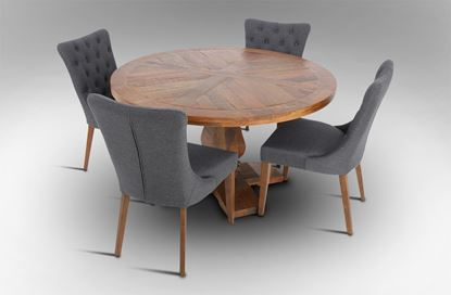 Picture of Eden Round Dining Table With 4 Paris Dining Chairs