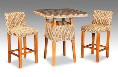 Picture of Java Square Bar Table Honey + 2 Java Breakfast Bar Chairs without glass