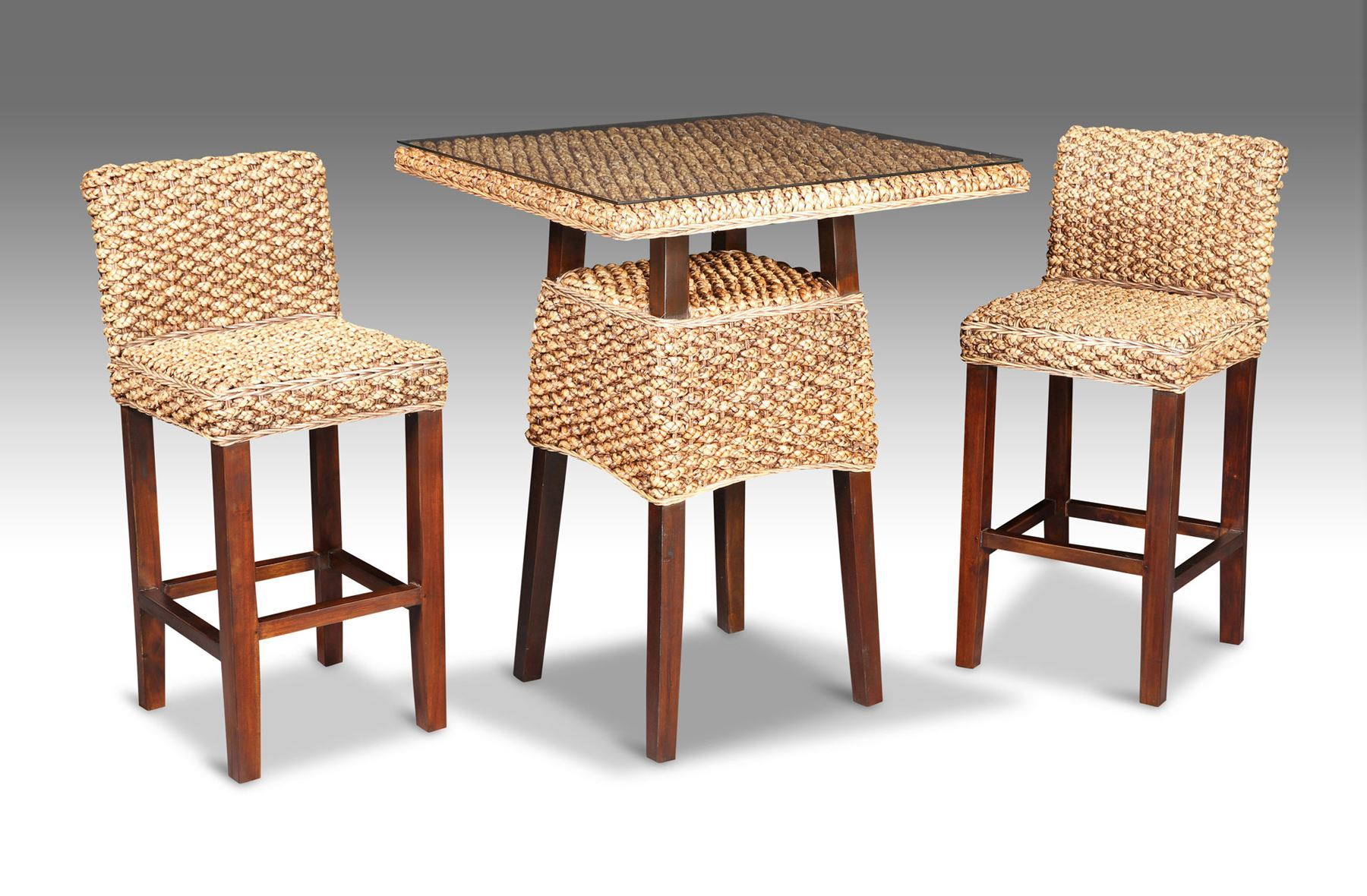Rice Furniture Java Square Bar Table Mocha 2 Chairs without glass