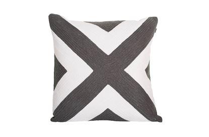 Picture of Portsea Cross Cushion Charcoal 43x43cm