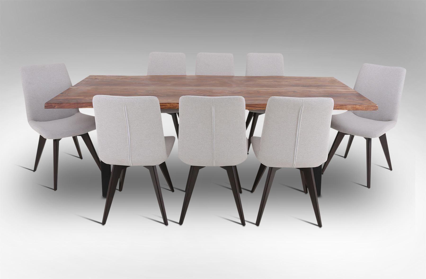 picture of rio dining table with 8 hilton fabric dining chairs