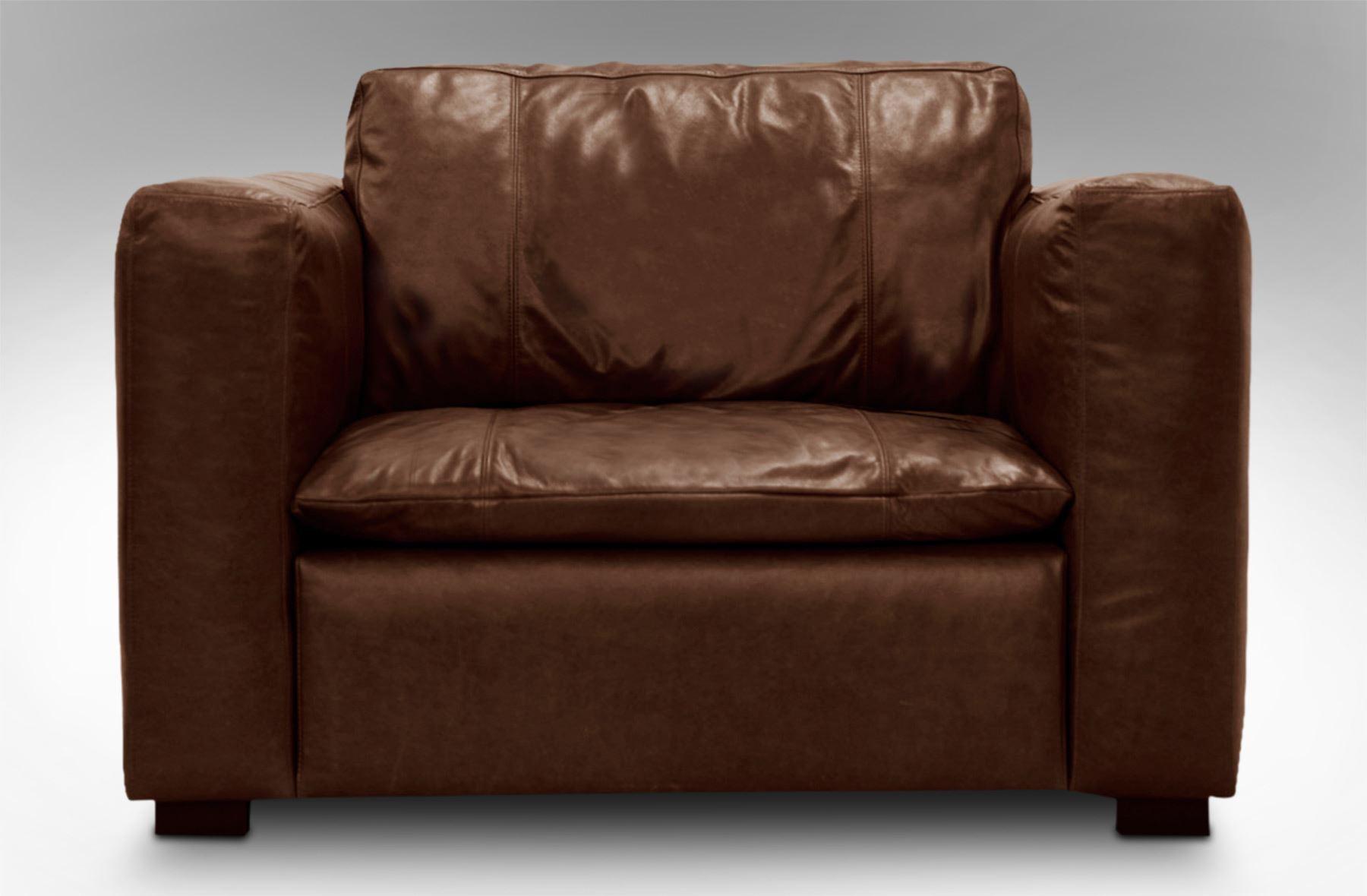 Rice Furniture Monash Single Leather Armchair Chestnut