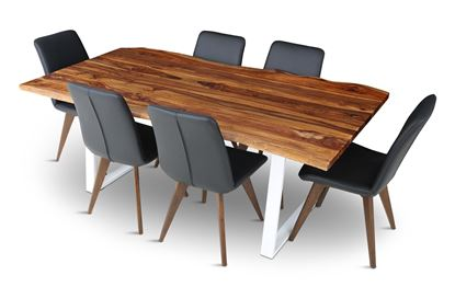 Rio 2000 Beach Dining Table With 6 Hilton Leather Dining Chairs Black
