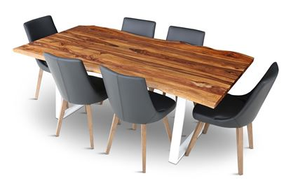 Picture of Rio 2000 Beach Dining Table with 6 Lincoln Leather Dining Chair Black
