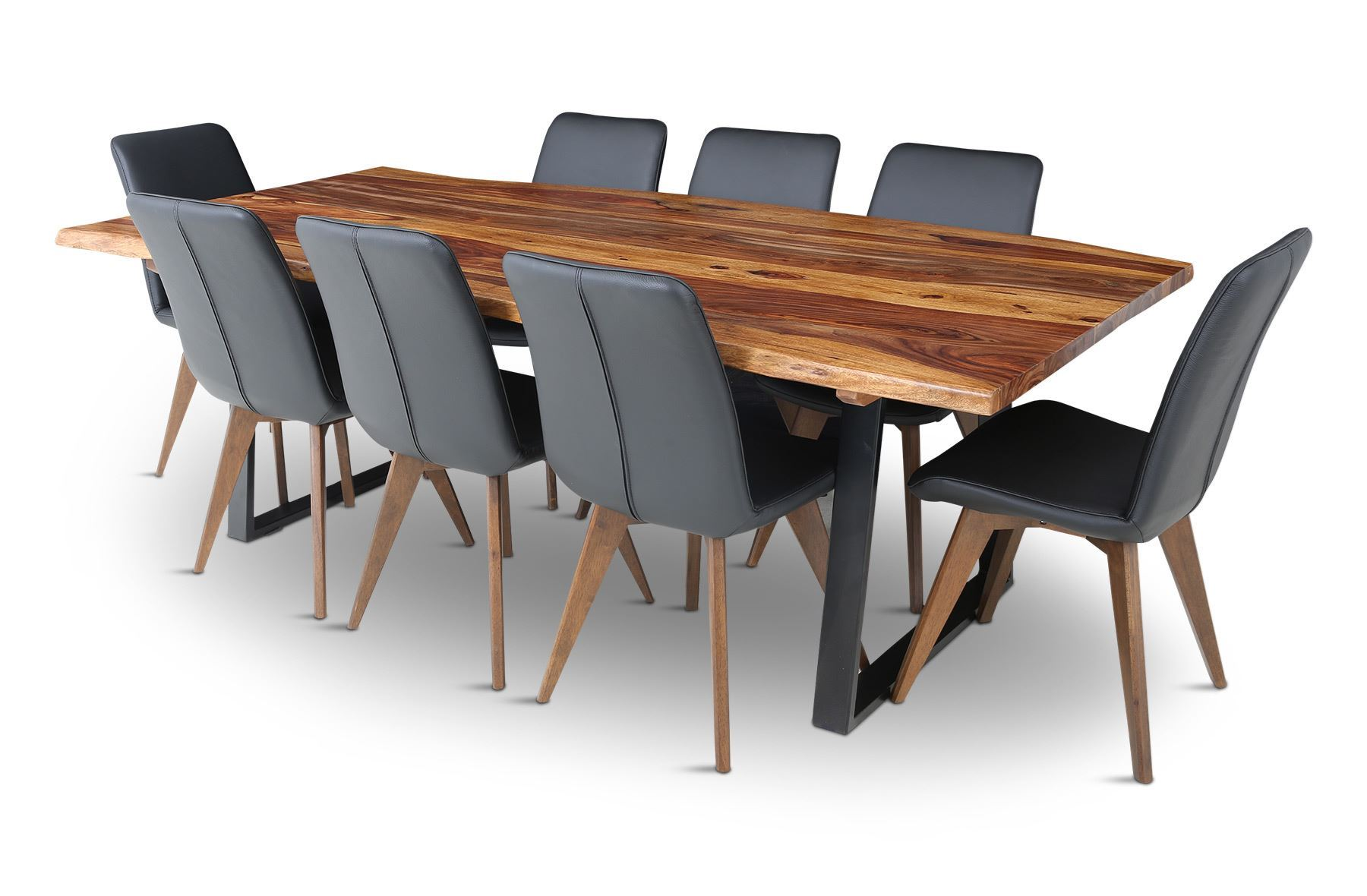 Rice furniture rio 2300 dining table with 8 hilton for Dining table leather chairs