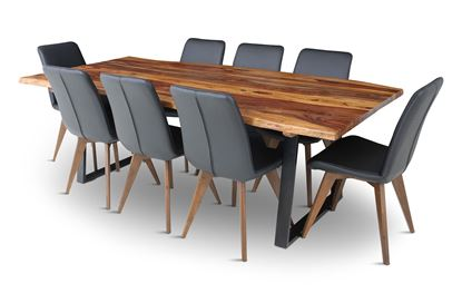 Picture of Rio 2300 Dining Table with 8 Hilton Leather Dining Chairs Black