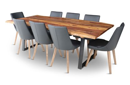 Picture of Rio 2300 Dining Table with 8 Lincoln Leather Dining Chair Black