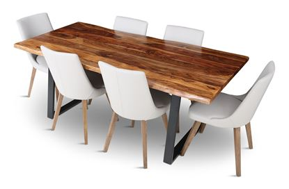 Picture of Rio 2000 Dining Table with 6 Lincoln Leather Dining Chair Beach