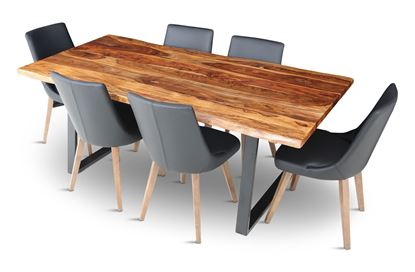 Picture of Rio 2000 Dining Table with 6 Lincoln Leather Dining Chair Black