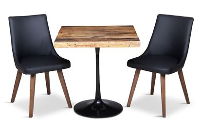 Picture of Boston Small Square Dining Table with 2 Lincoln Leather Dining Chair Black