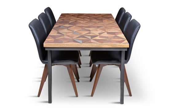 Picture of Phoenix 2000 Dining Table With 6 Hilton Leather Dining Chair Black