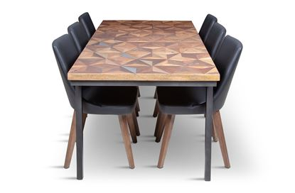 Picture of Phoenix 2000 Dining Table With 6 Lincoln Leather Dining Chair Black