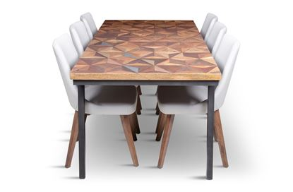 Picture of Phoenix 2000 Dining Table With 6 Lincoln Leather Dining Chair Beach