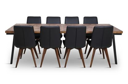 Picture of Phoenix 2500 Dining Table With 8 Hilton Leather Dining Chair Black