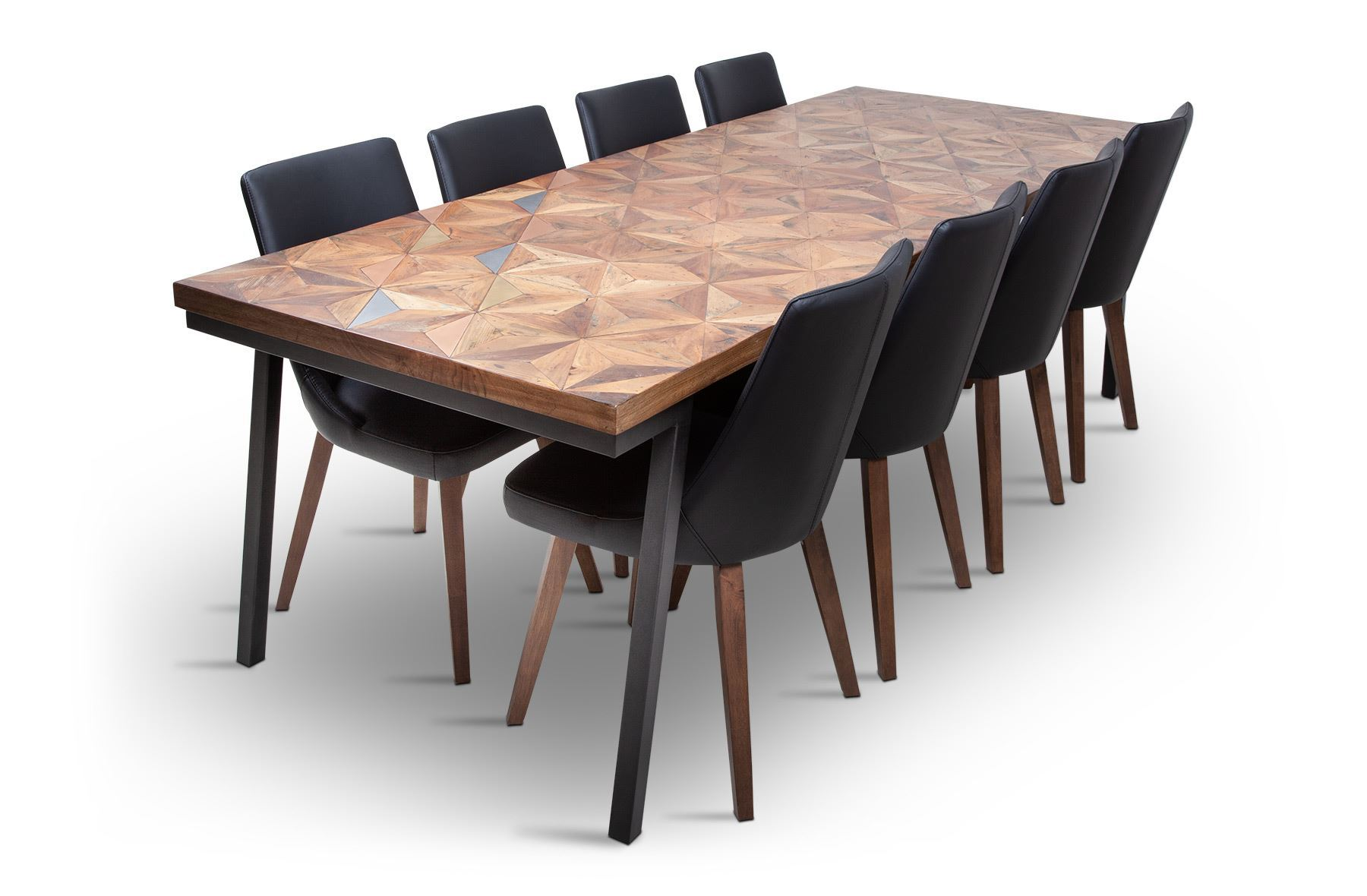 Picture Of Phoenix 2500 Dining Table With 8 Lincoln Leather Chair Black