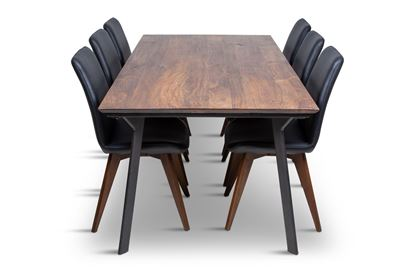 Picture of California 2100 Dining Table With 6 Hilton Leather Dining Chairs Black