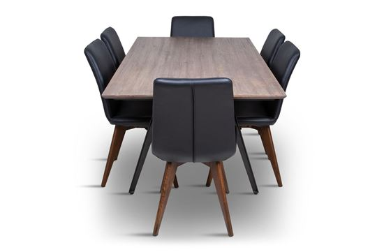 Picture of Manhattan 1800 Dining Table (Soft Sand) With 6 Hilton Leather Dining Chair Black