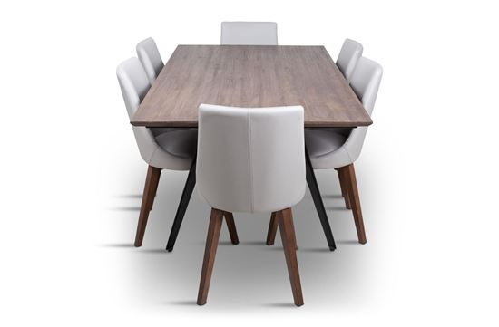 Picture of Manhattan 1800 Dining Table (Soft Sand) With 6 Lincoln Leather Dining Chair Beach