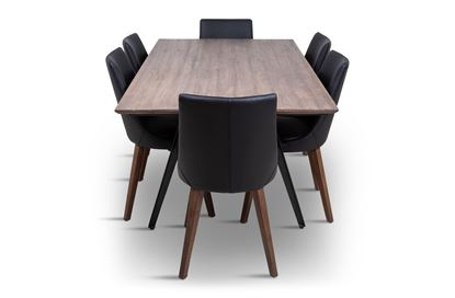 Picture of Manhattan 1800 Dining Table (Soft Sand) With 6 Lincoln Leather Dining Chair Black