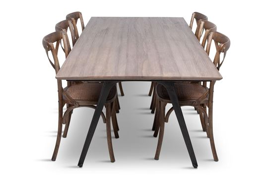 Picture of Manhattan 2300 Dining Table (Soft Sand) With 6 Chelsea Dining Chair