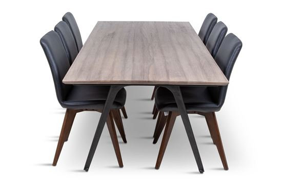 Picture of Manhattan 2300 Dining Table (Soft Sand) With 6 Hilton Leather Dining Chair Black