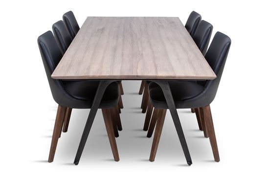 Picture of Manhattan 2300 Dining Table (Soft Sand) With 6 Lincoln Leather Dining Chair Black