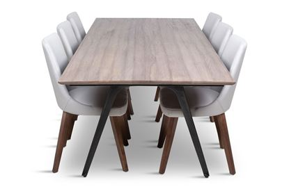 Picture of Manhattan 2300 Dining Table (Soft Sand) With 6 Lincoln Leather Dining Chairs Beach