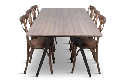 Picture of Manhattan 2300 Dining Table (Soft Sand) With 8 Chelsea Dining Chair
