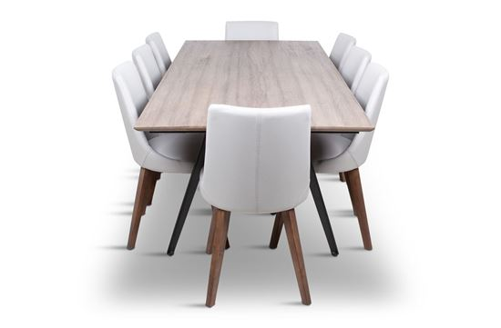 Picture of Manhattan 2300 Dining Table (Soft Sand) With 8 Lincoln Leather Dining Chairs Beach