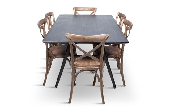 Picture of Manhattan 1800 Dining Table (Dark Ancient) With 6 Chelsea Dining Chair