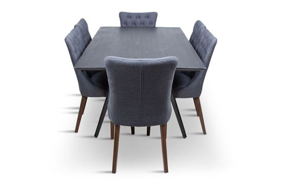 Picture of Manhattan 1800 Dining Table (Dark Ancient) With 6 Paris Dining Chair
