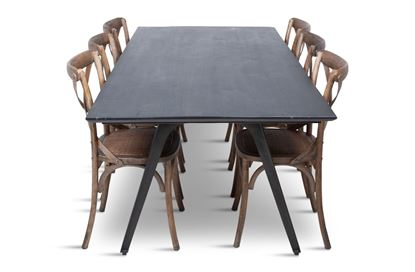 Picture of Manhattan 2300 Dining Table (Dark Ancient) With 6 Chelsea Dining Chair