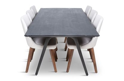 Picture of Manhattan 2300 Dining Table (Dark Ancient) With 6 Lincoln Leather Dining Chairs Beach