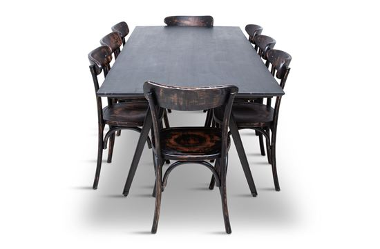 Picture of Manhattan 2300 Dining Table (Dark Ancient) With 8 Benson Dining Chair