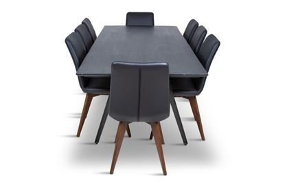 Picture of Manhattan 2300 Dining Table (Dark Ancient) With 8 Hilton Leather Dining Chair Black