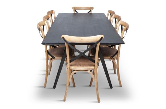 Picture of Manhattan 2300 Dining Table (Dark Ancient) With 8 Lexi Dining Chair