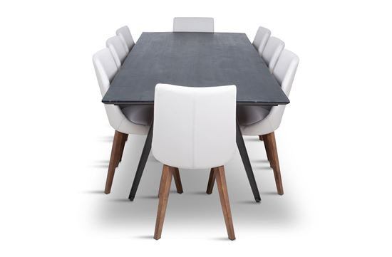 Picture of Manhattan 2300 Dining Table (Dark Ancient) With 8 Lincoln Leather Dining Chair Beach