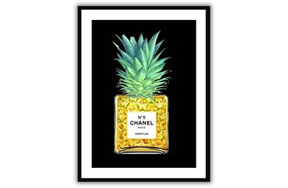 Picture of Chanel Pineapple 90 x 120 - Only hang this print from the hooks, not the string. The String is only to assist in hanging.