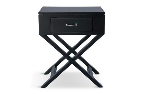 Picture of New York One Drawer Side Table W/ Silver Handle